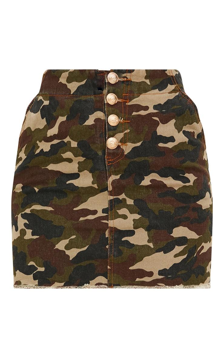 Khaki Camouflage Denim Mini Skirt 3