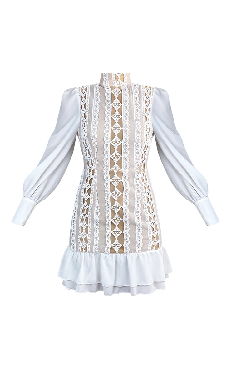 White Lace Trim High Neck Long Sleeve Bodycon Dress 5