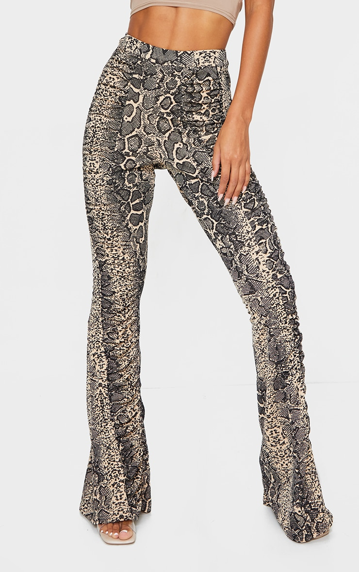 Stone Snake Print Ruched Panel Detail Flare Pants 2