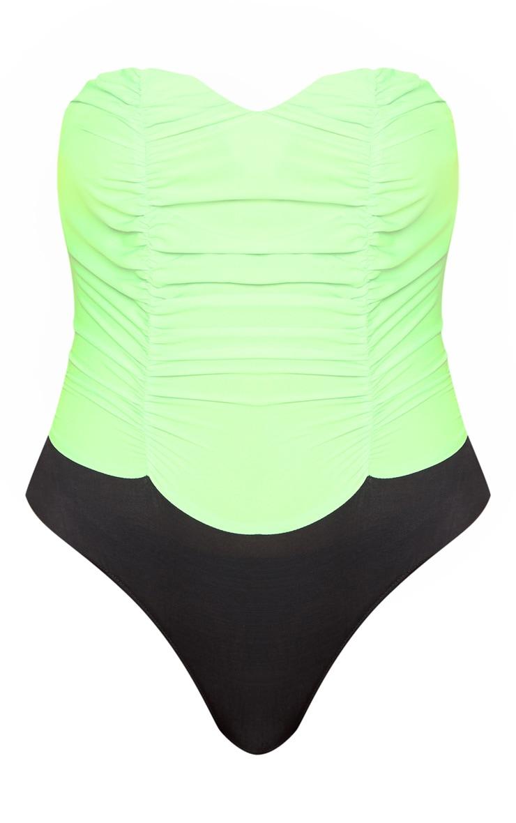 Neon Green Bandeau Bodysuit 3