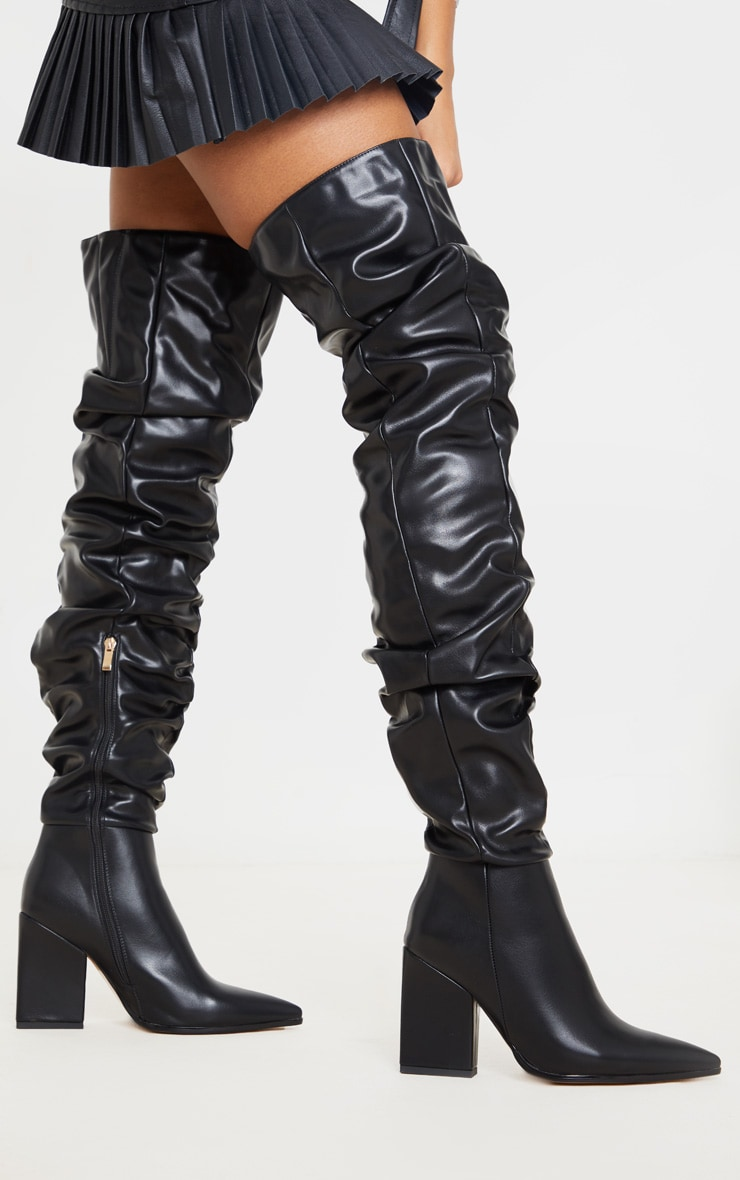 Black Ruched Thigh High Block Heel Boots 1