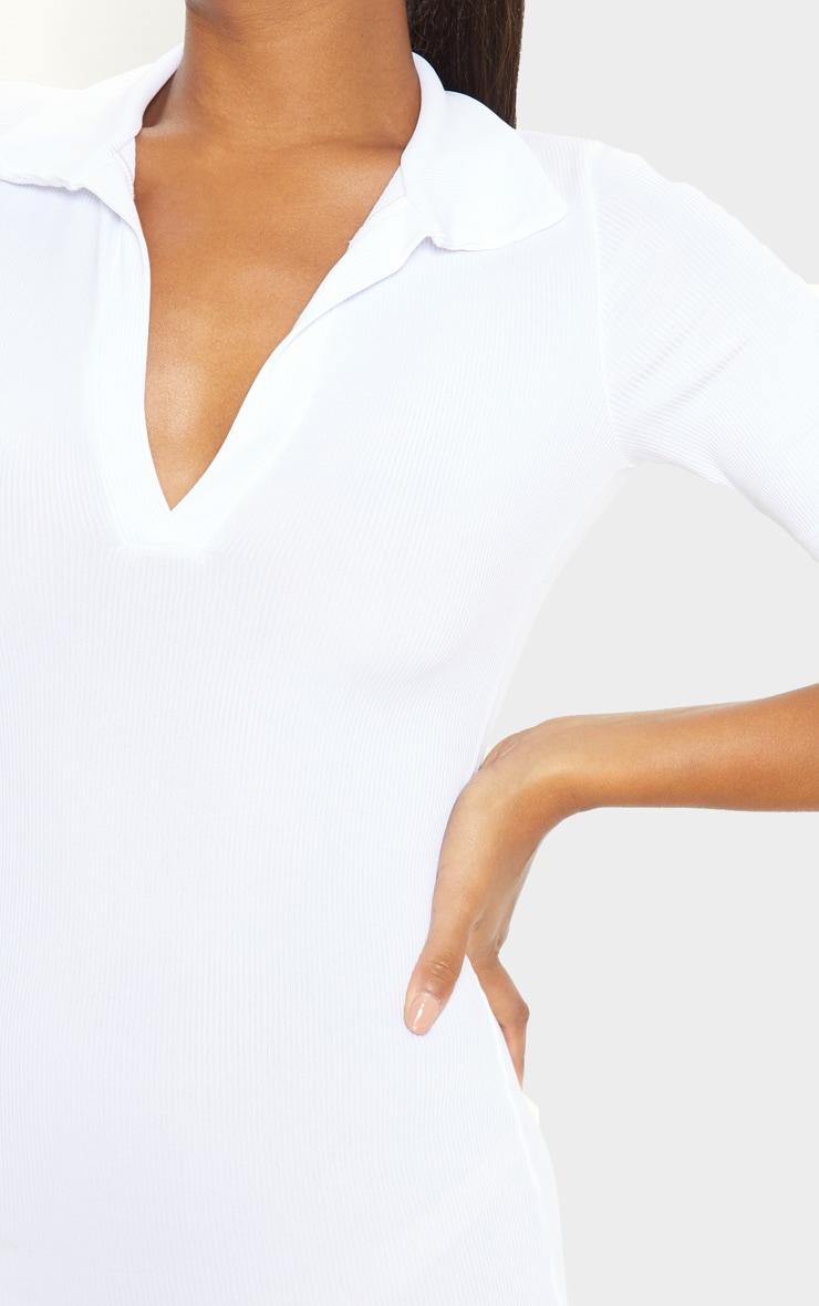 White Ribbed Midi Polo Dress 5