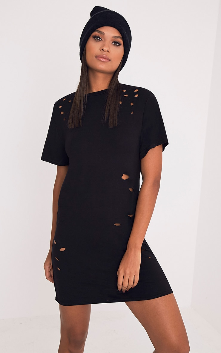 Miyah Black Distressed T-Shirt Dress 1