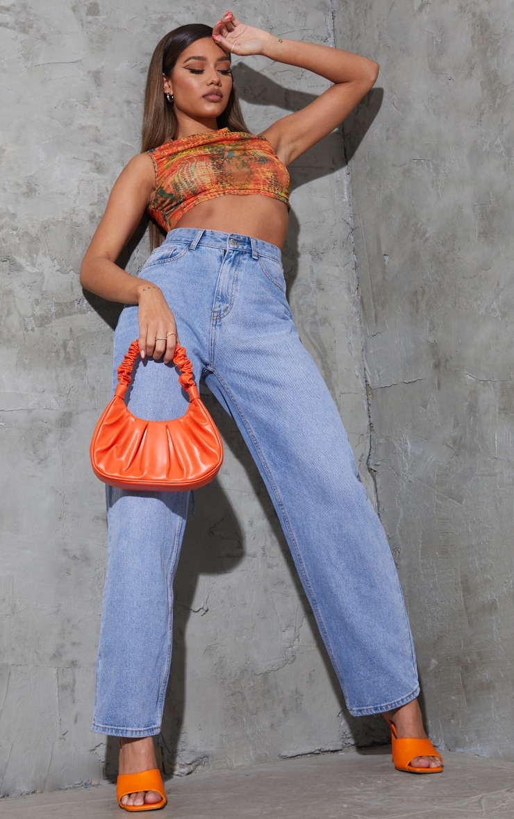 Orange  Abstract Snake Printed Mesh Sheer High Neck Ruched Crop Top 3