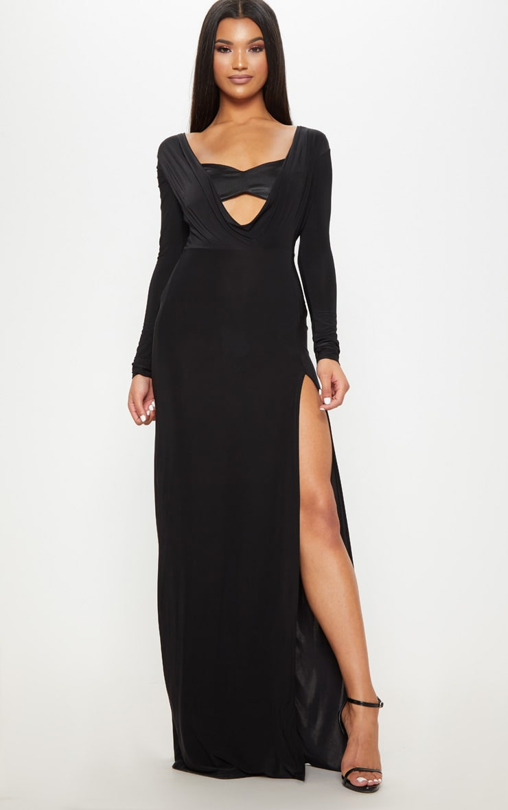 Black Slinky Cowl Satin Insert Long Sleeve Maxi Dress