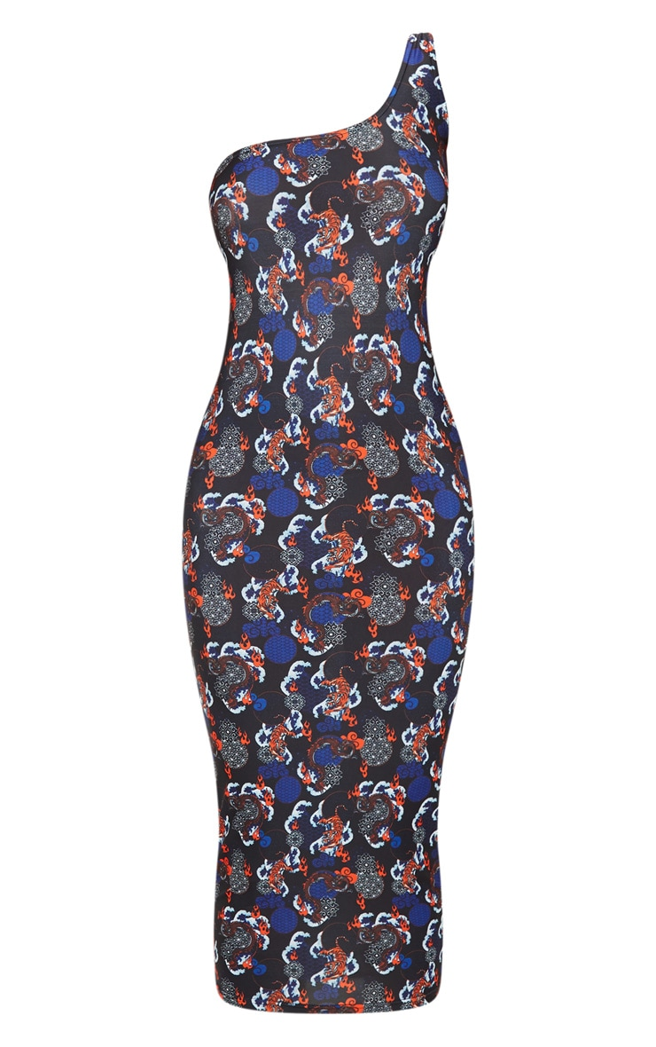 Black Tiger Oriental Print Slinky One Shoulder Midi Dress 3