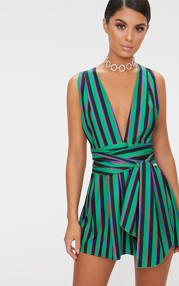 Green Stripe Tie Back Playsuit 1