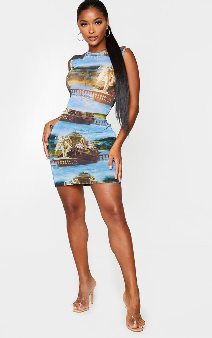 Shape Blue Renaissance Print Bodycon Skirt 4