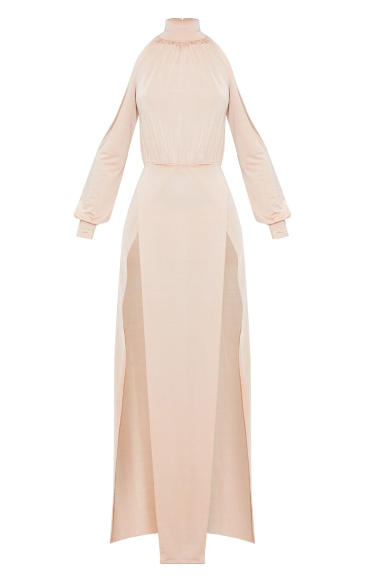 Nude High Neck Double Extreme Split Maxi Dress 3