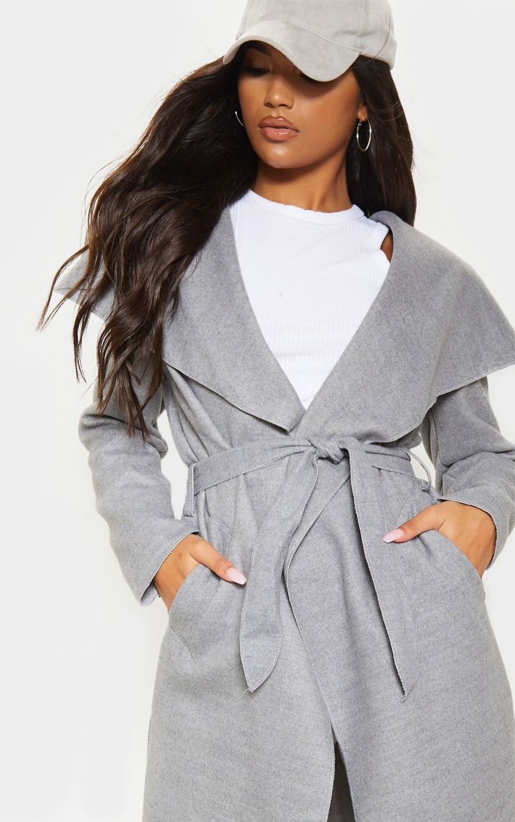 Grey Maxi Length Oversized Waterfall Belted Coat 5