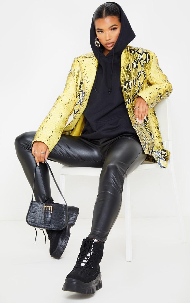 Yellow Snake Print Faux Leather Biker Jacket 1