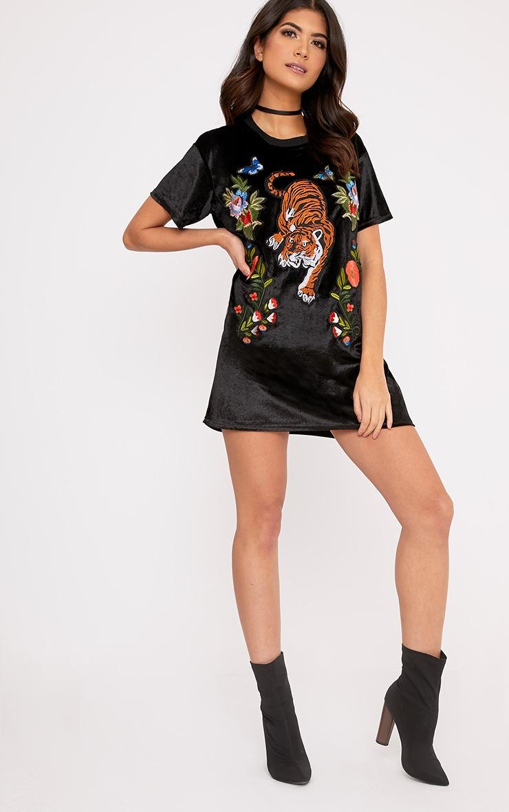 Ebany Black Velvet Applique T-Shirt Dress 4