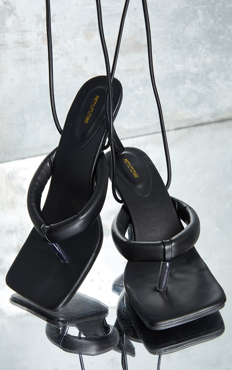 Black Toe Thong Tube Strap Ankle Tie Heeled Sandals 4