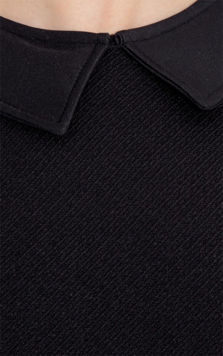 Grainne  Black Ribbed Collar Bodycon Dress 3