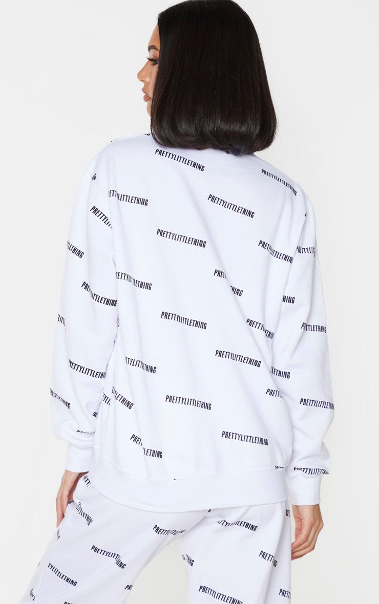 PRETTYLITTLETHING White Printed Crew Neck Sweatshirt 2