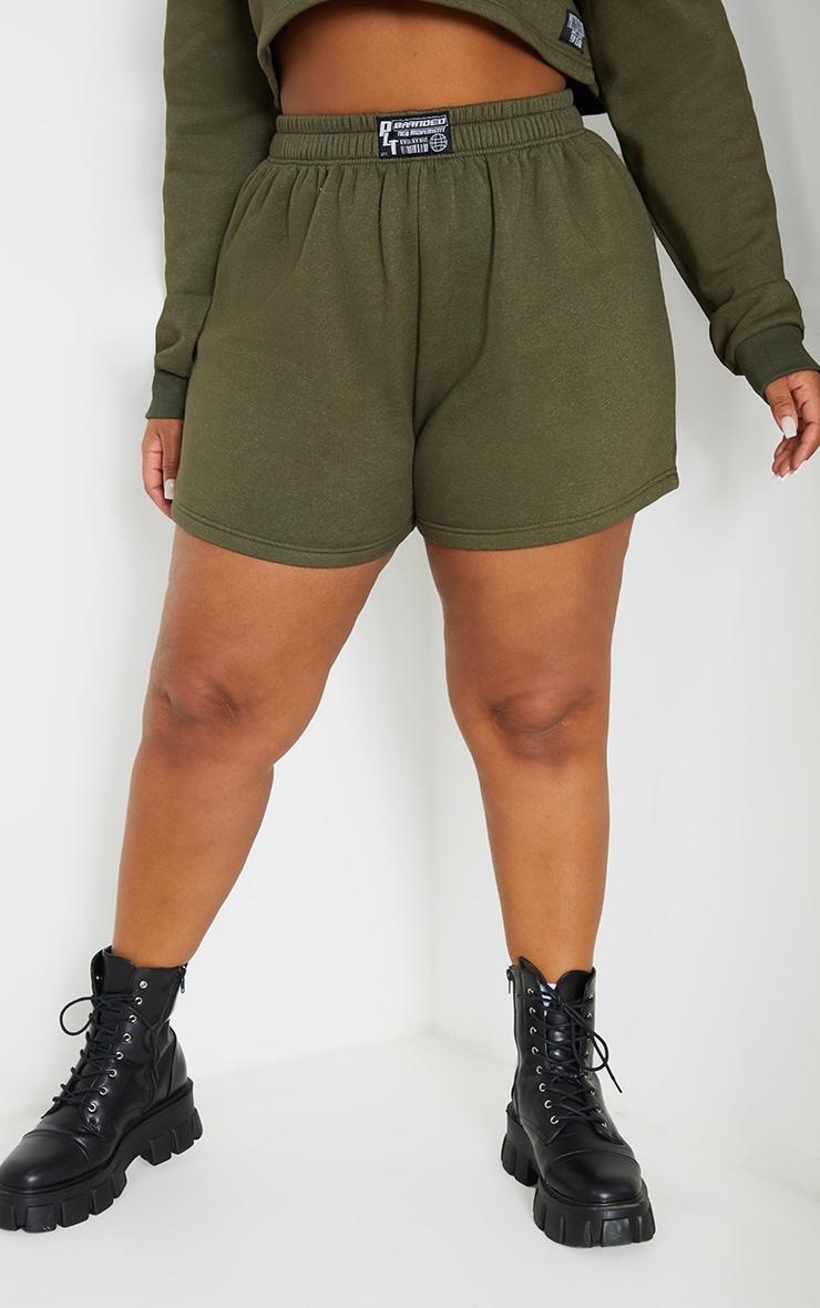 Plus Khaki PLT Badge Sweat Shorts 2