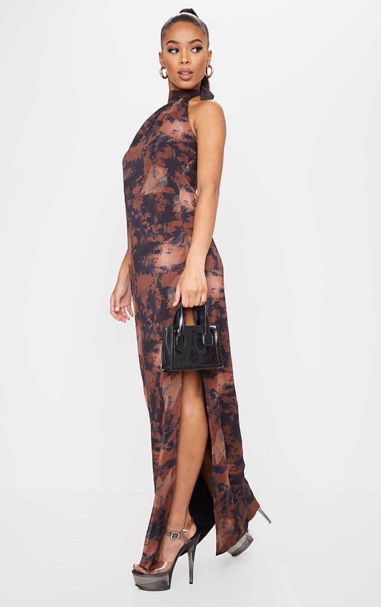 Brown Tie Dye Halterneck Chiffon Maxi Dress 3