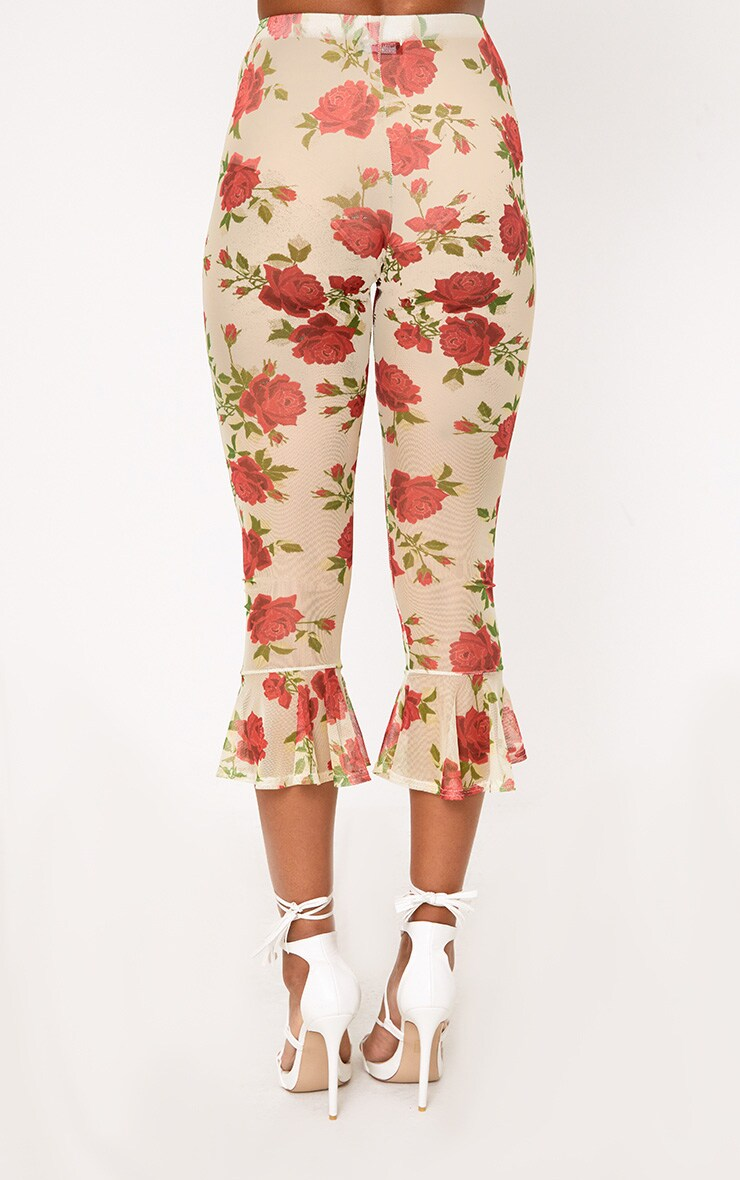 Cream Embroidered Printed Mesh Frill Hem Crop Trousers 4