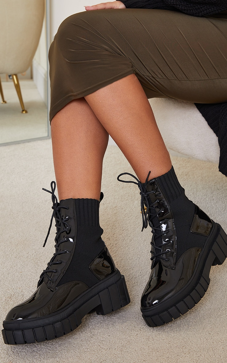Black Pu Contrast Sock Lace Up Chunky Boots 2