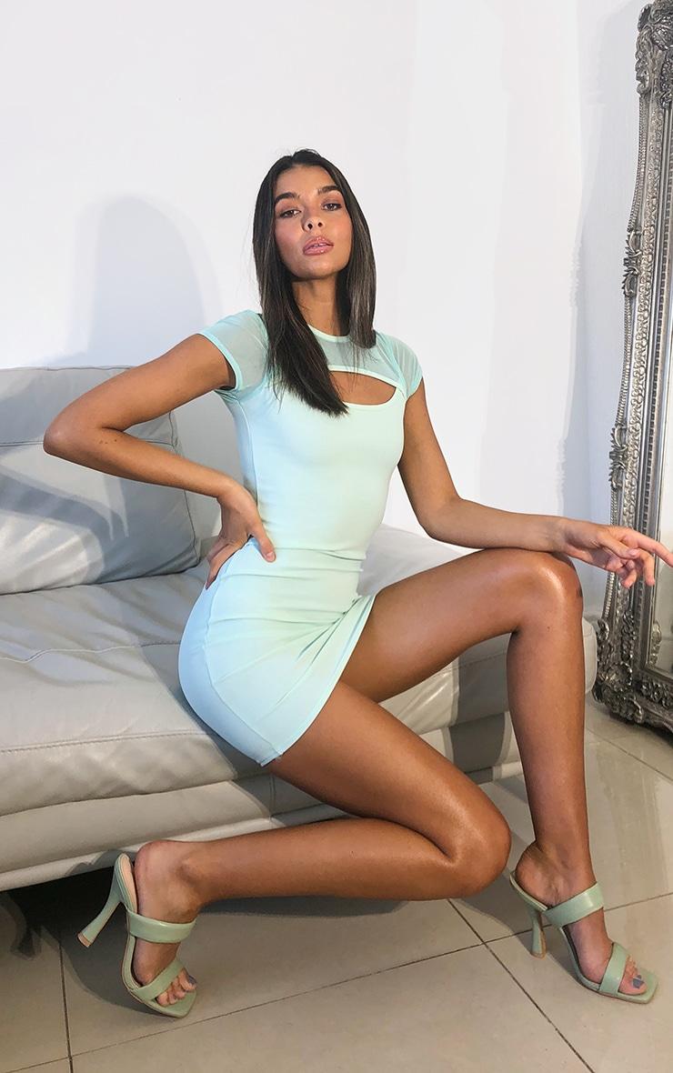 Mint Mesh Bodice Cut Out Short Sleeve Bodycon Dress 1