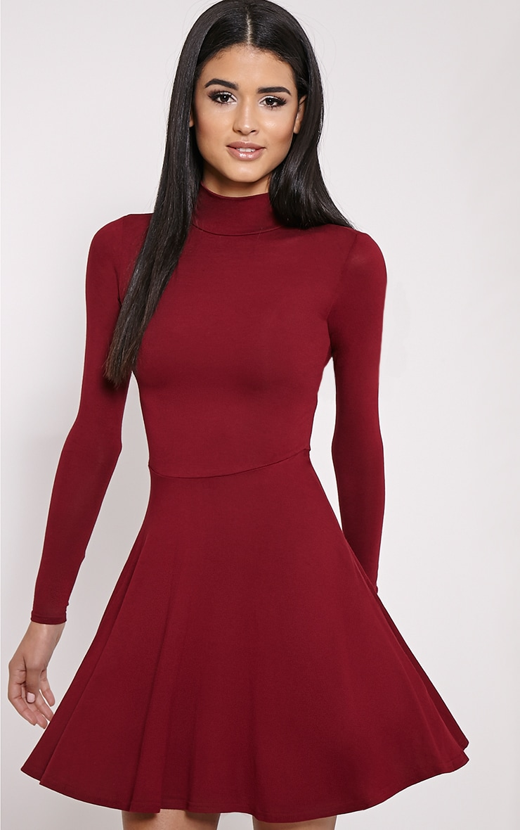 Basic Wine High Neck Jersey Skater Dress 1