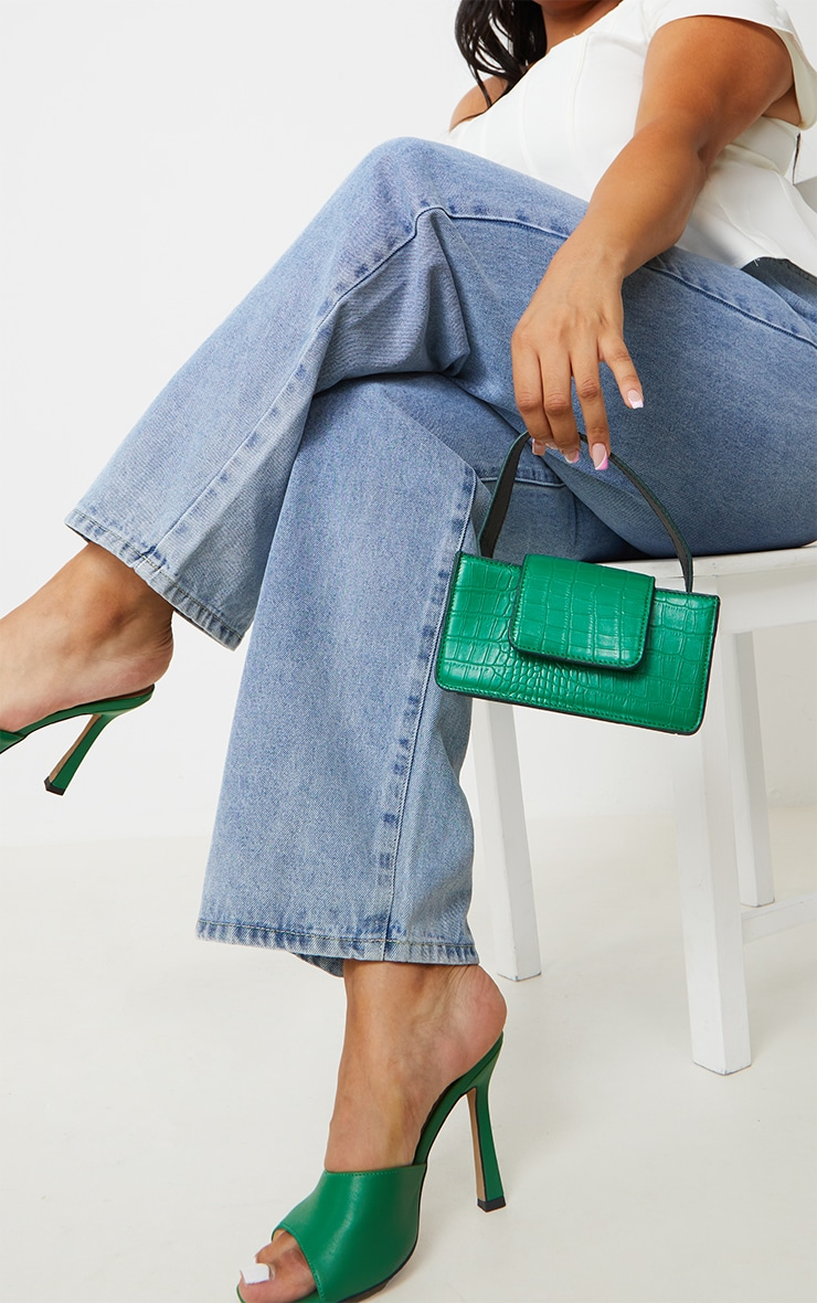 Green Croc Front Flap Mini Bag 1