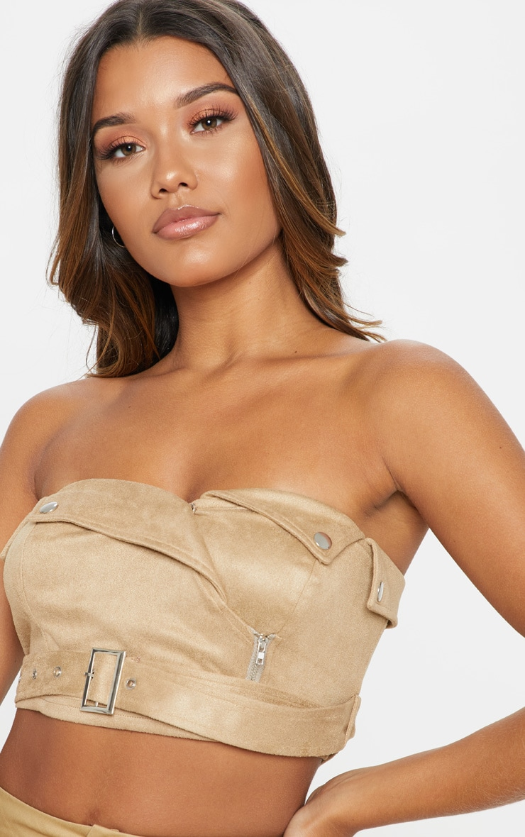 Tan Faux Suede Bandeau Crop Top 5