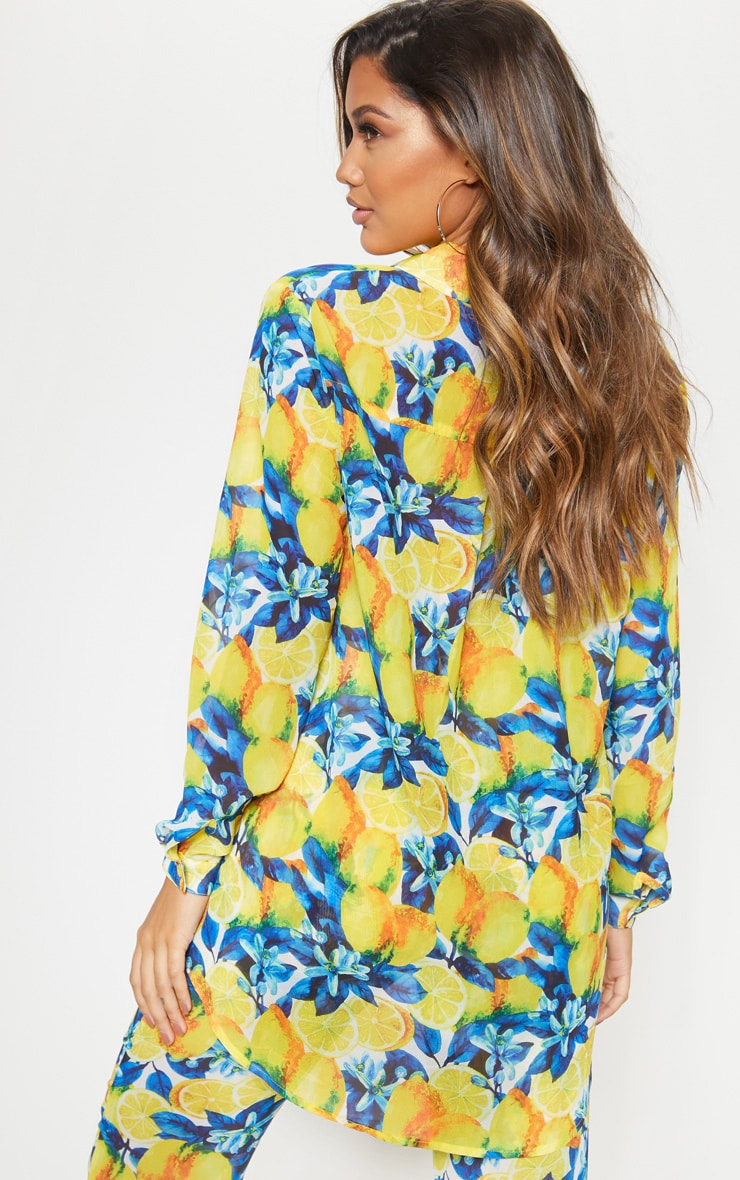 Yellow Lemon Print Beach Shirt 2