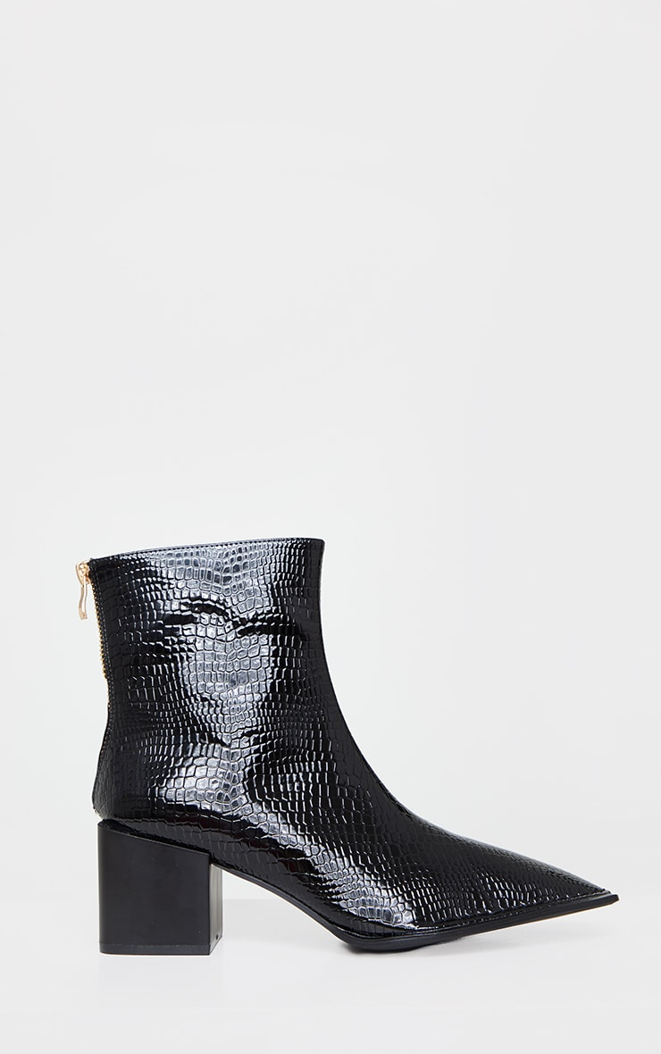 Black Naked Snake Pointed Square Low Block Heel Ankle Boots 2