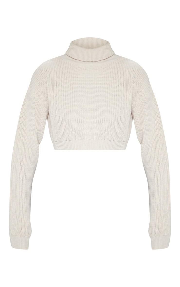 Stone Super Cropped High Neck Knitted Jumper 3