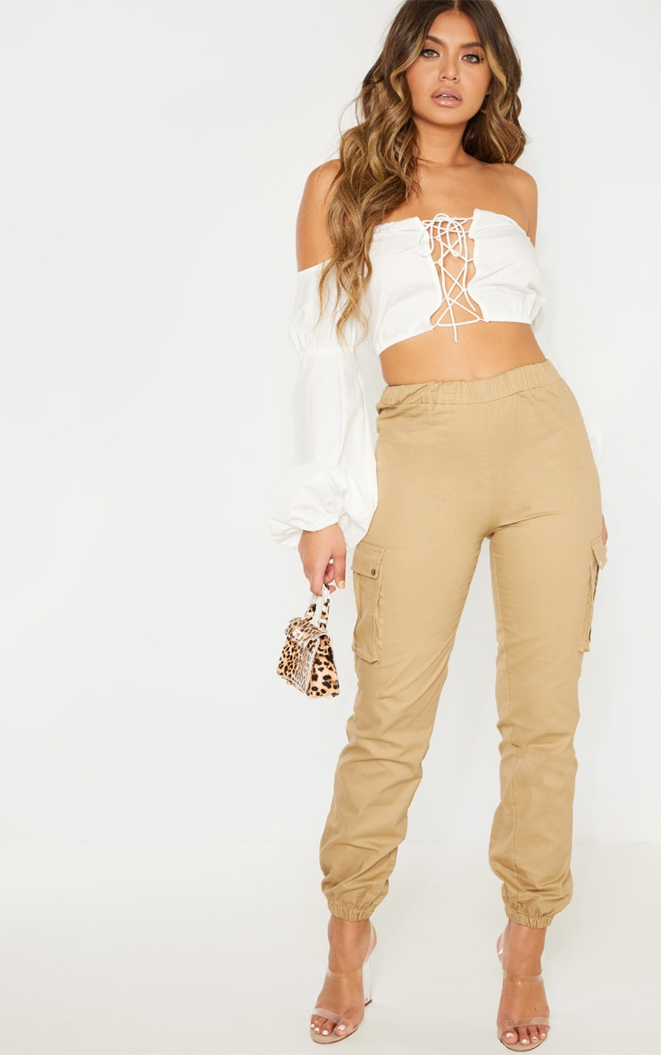 White Crochet Lace Up Bardot Long Sleeve Top 4