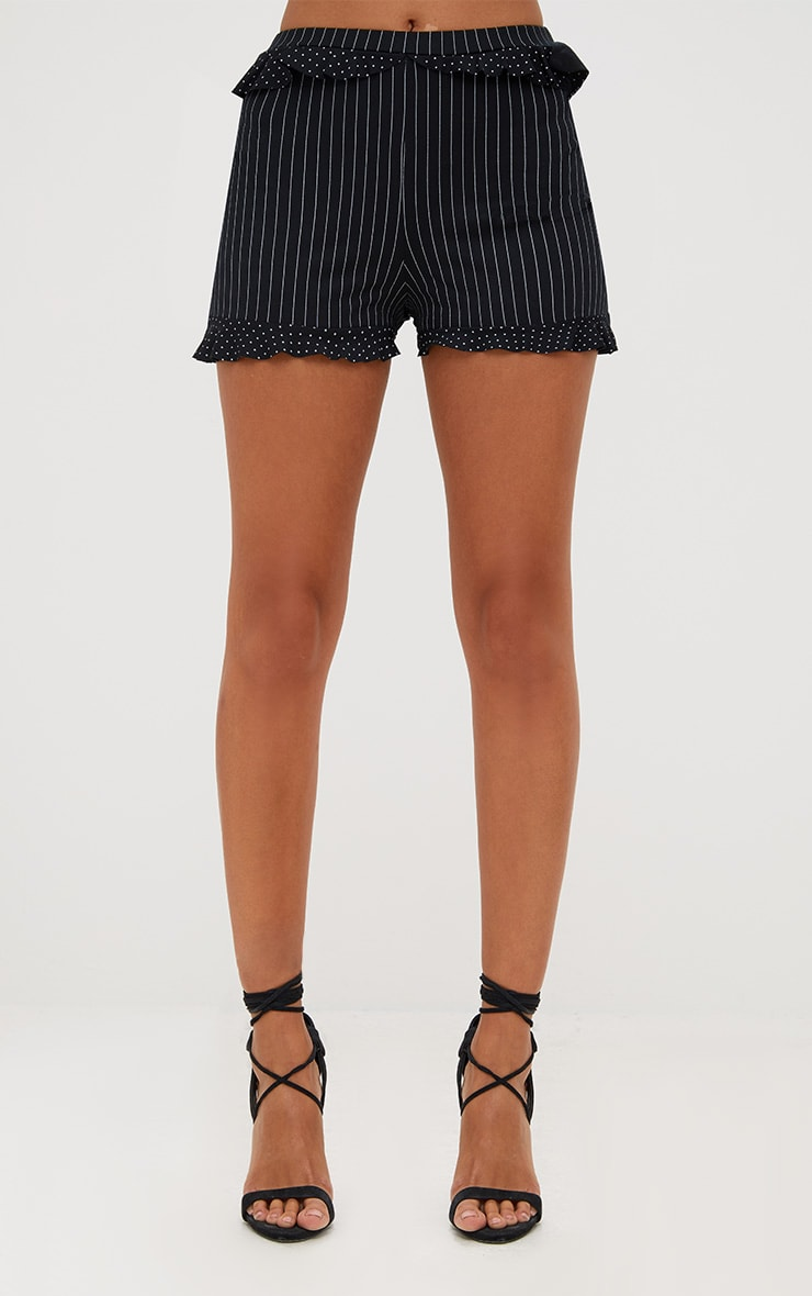 Black Contrast Frill Stripe Shorts 2