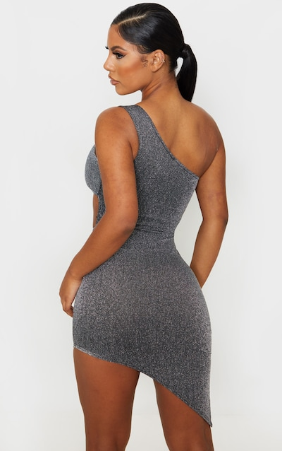 Silver Glitter One Shoulder Cut Out Asymmetric Bodycon Dress