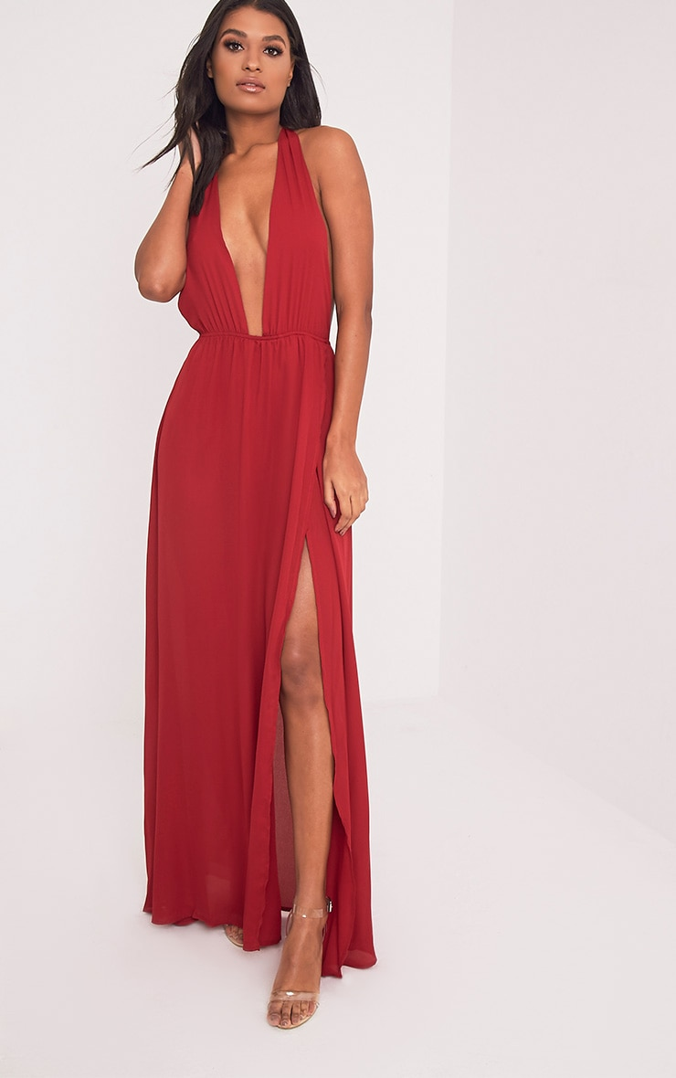 Alina Burgundy Plunge Maxi Dress 1