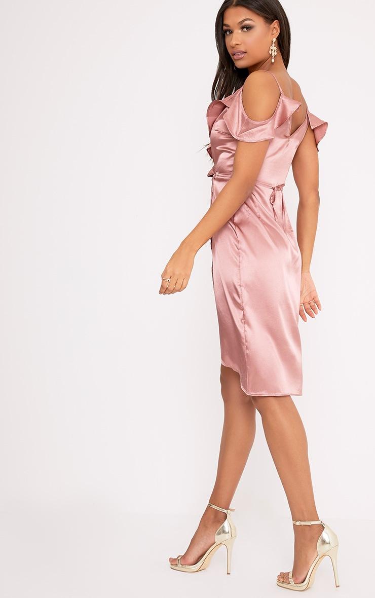 Quinn Rose Satin Frill Cold Shoulder Midi Dress 2
