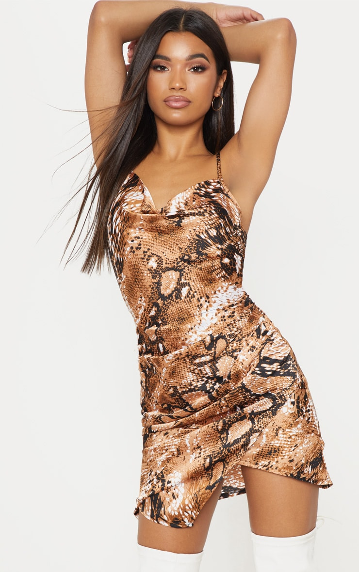 Tan Satin Snake Cowl Ruched Bodycon Dress