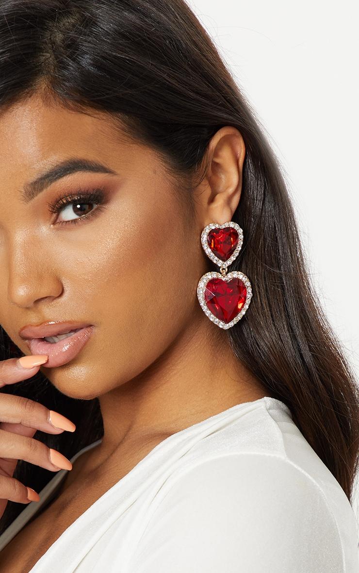 Red Heart Gemstone Statement Earrings 1