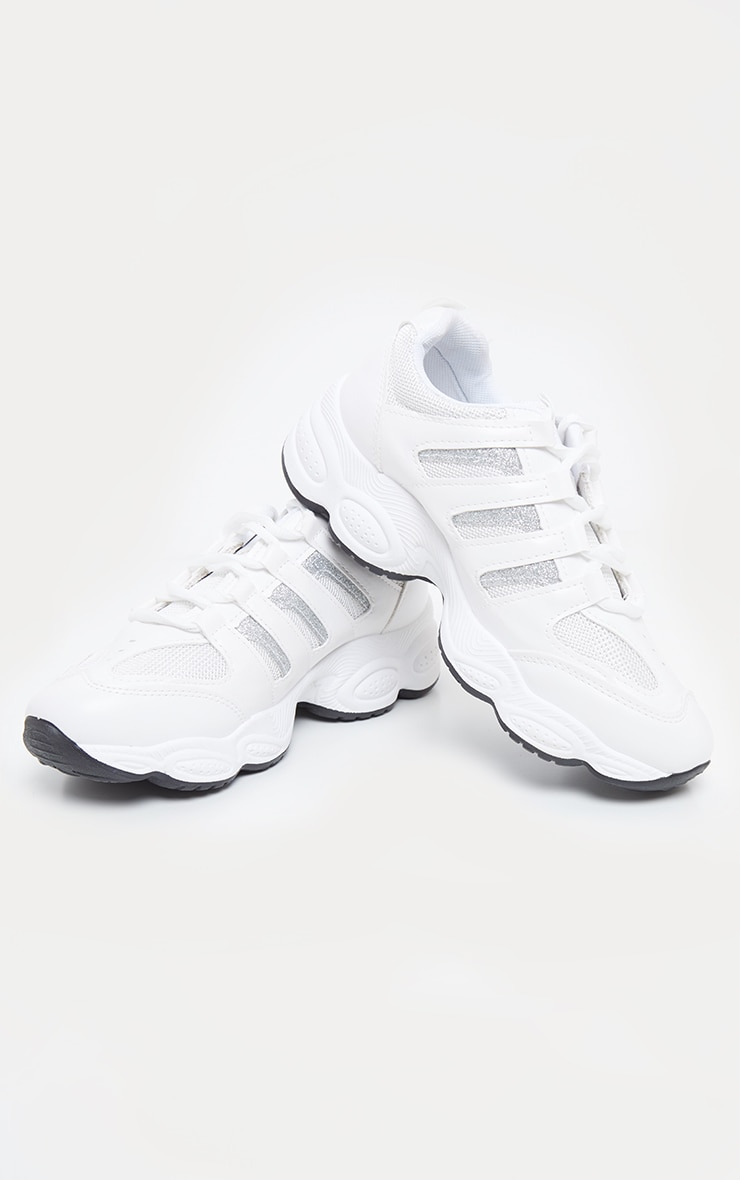 White Cut Out Panel Lace Up Trainer 3