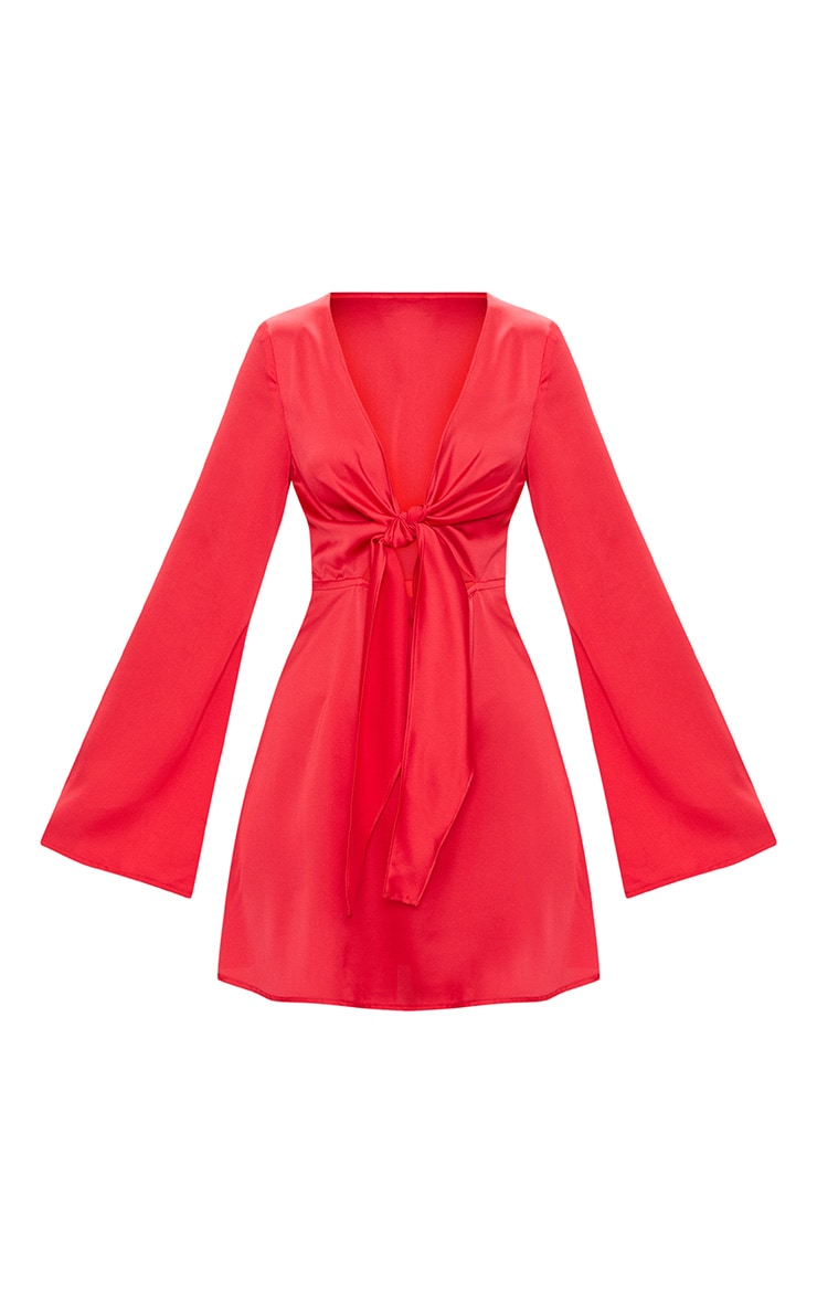 Red Satin Flare Sleeve Knot Detail Plunge Skater Dress 3