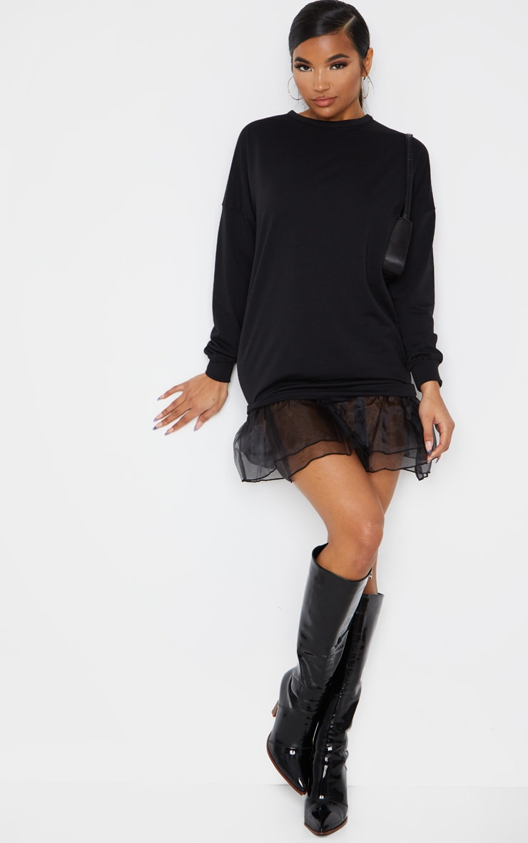 Black Long Sleeve Organza Hem Detail Jumper Dress 3