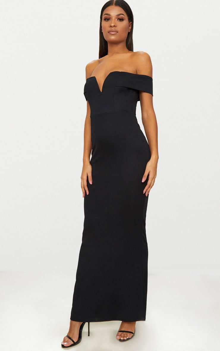 Black Bardot V Plunge Maxi Dress 4