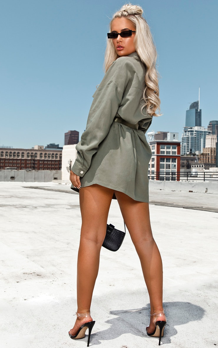 Khaki Cargo Oversized Popper Front Shirt Dress 2