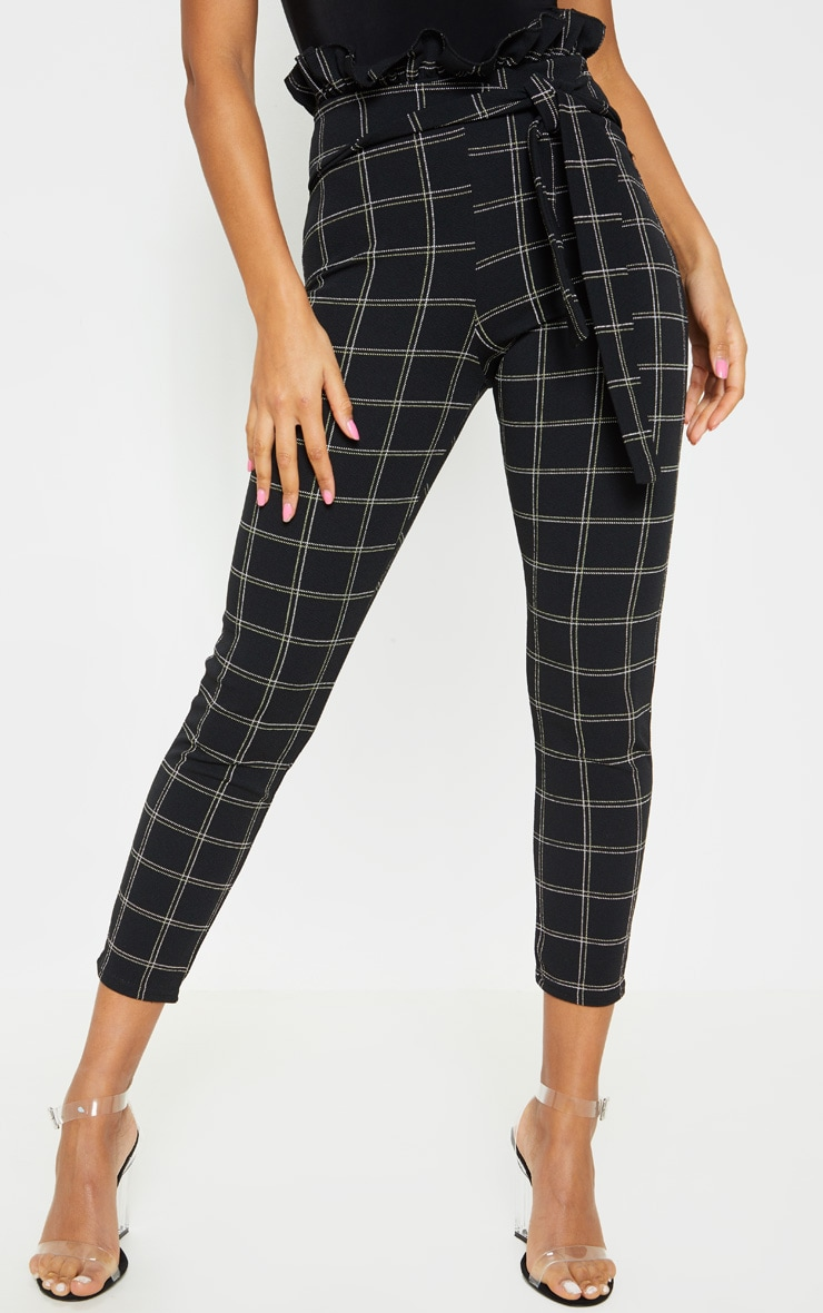 Black Tweed Check Paperbag Skinny Pants 2