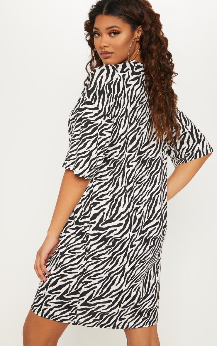 Tall Zebra Print Oversized T-Shirt Dress 2