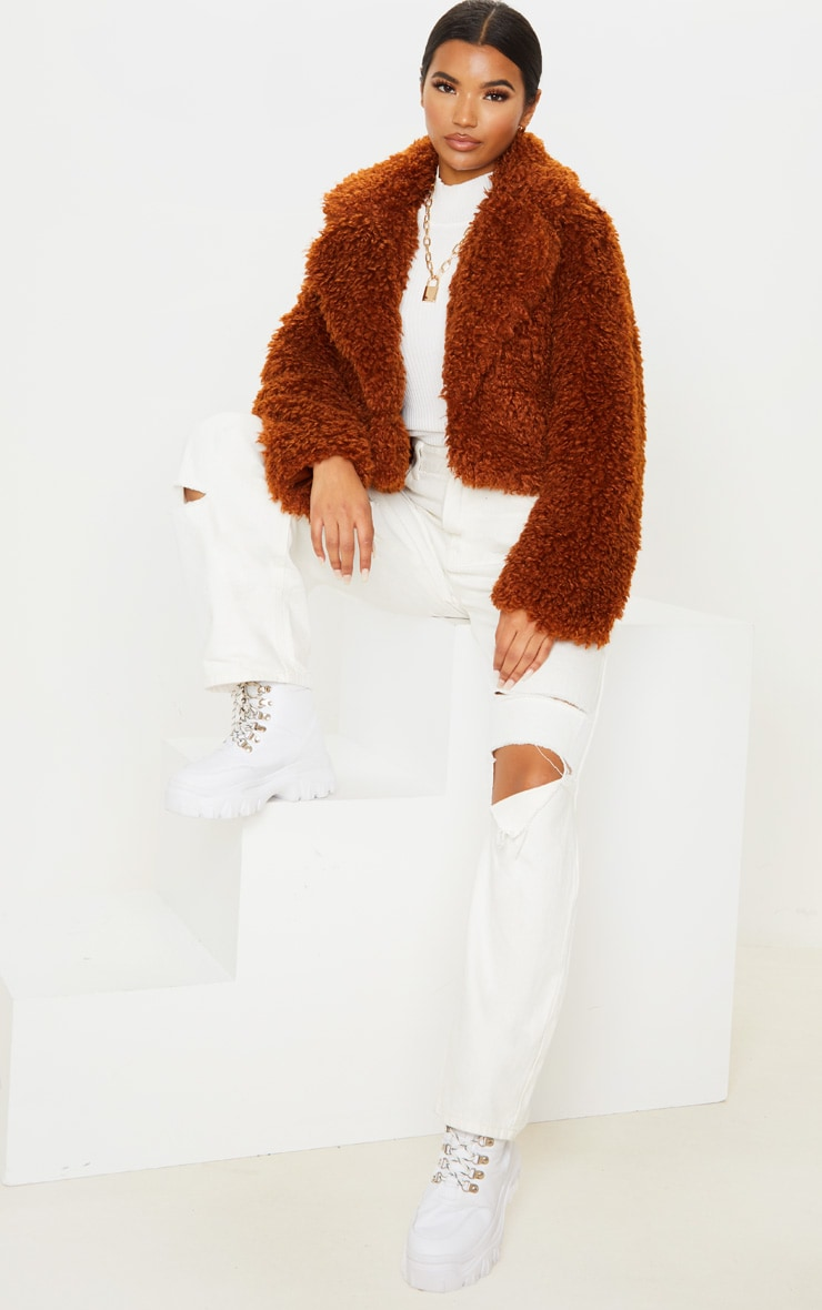Brown Cropped Teddy Faux Fur Coat  4