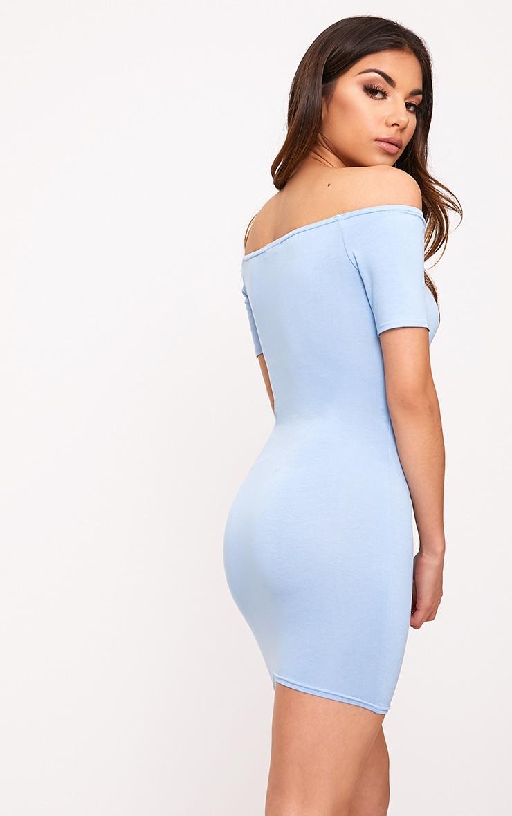 Dusty Blue Basic Short Sleeve Bardot Bodycon Dress  2