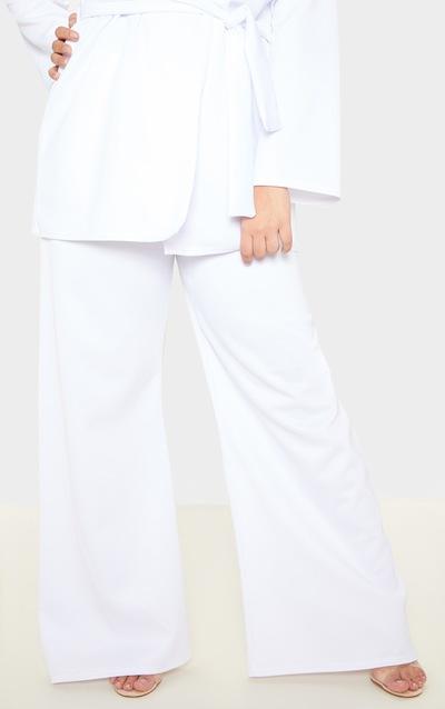 Plus White Scuba Wide Leg Trouser