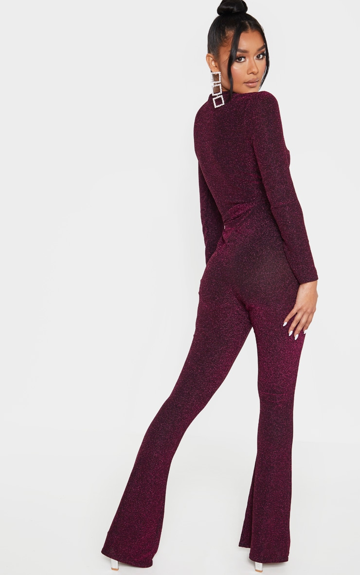 Hot Pink Glitter Wrap Front Flared Leg Jumpsuit 2