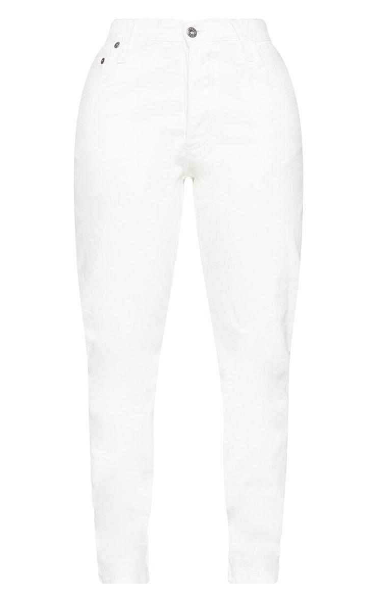 PRETTYLITTLETHING Shape Ecru V Front Waistband Straight Leg Jeans 5