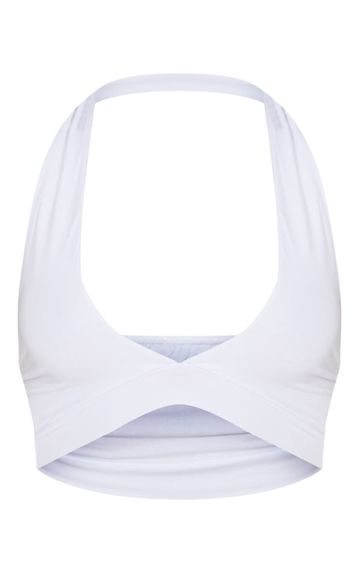 White Halterneck Jersey Crop Top 3